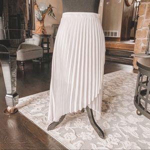 Leith Pleated Asymmetrical Midi Skirt